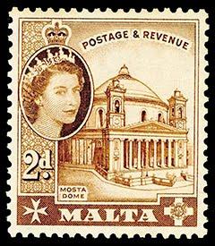 Malta QEII 2d Stamp (Mosta Dome)