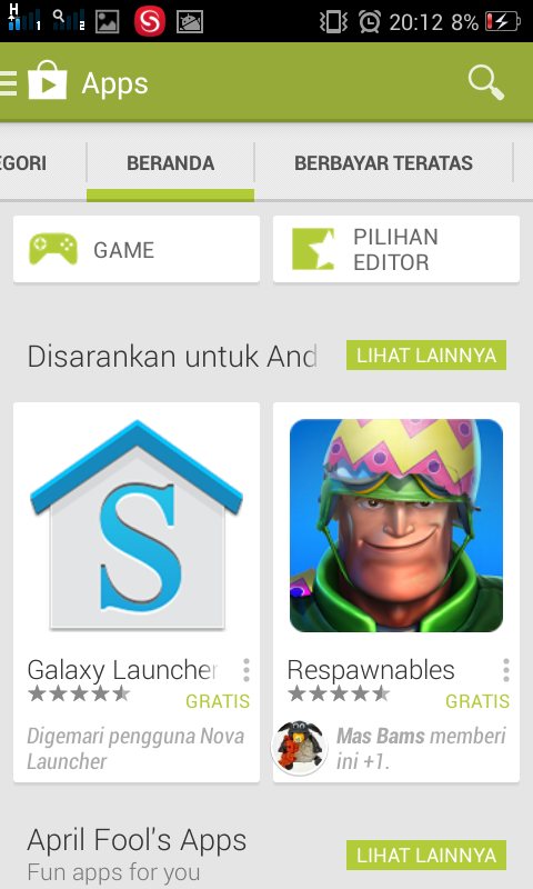 Simple server android isat