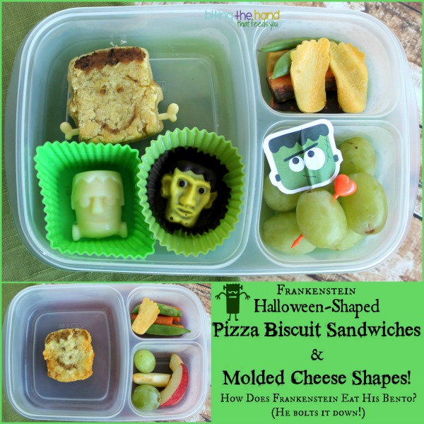 Shaped Biscuit Pizza Sandwiches and Molded Cheese for Halloween!