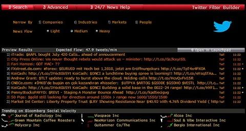 Twitter sur la plate-forme Bloomberg