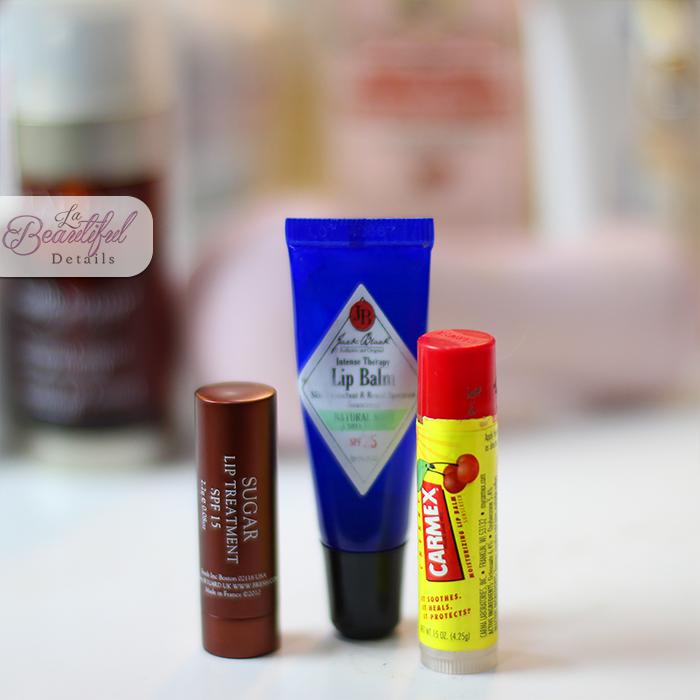 Lip Balms with SPF: sugar Lip Treatment SPF15 - Jack Black Lip Balm SPF 25 - Carmex Lip Balm SPF15