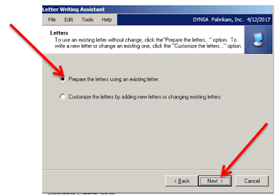 Prepare the letter using exisiting letter in Microsoft GP