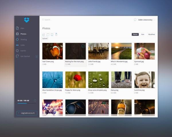 Dropbox UI – Free PSD