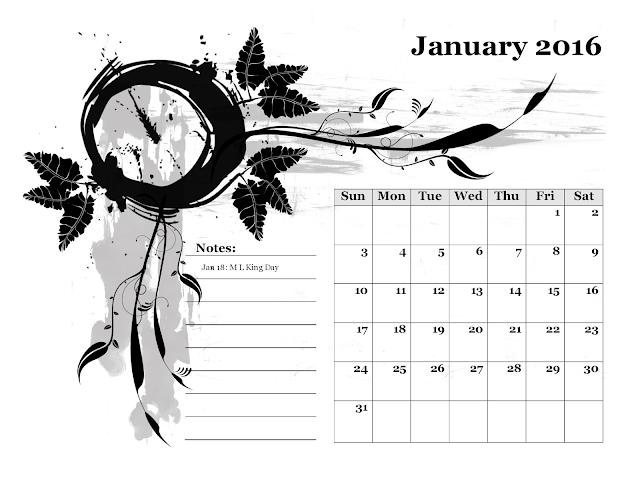 Calendario mensile - Gennaio 2016 - gratis
