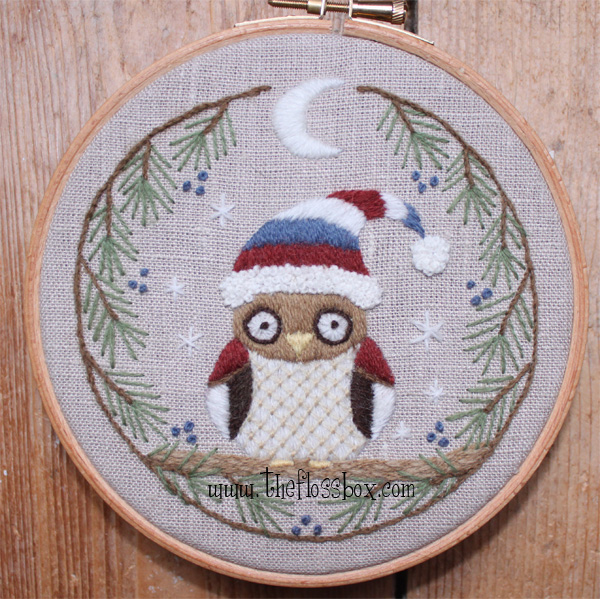 The Floss Box Winter Owl Crewel Embroidery