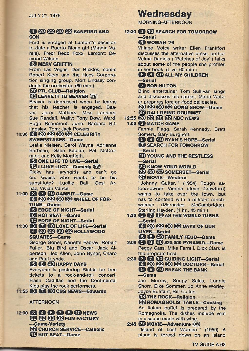 old tv listings