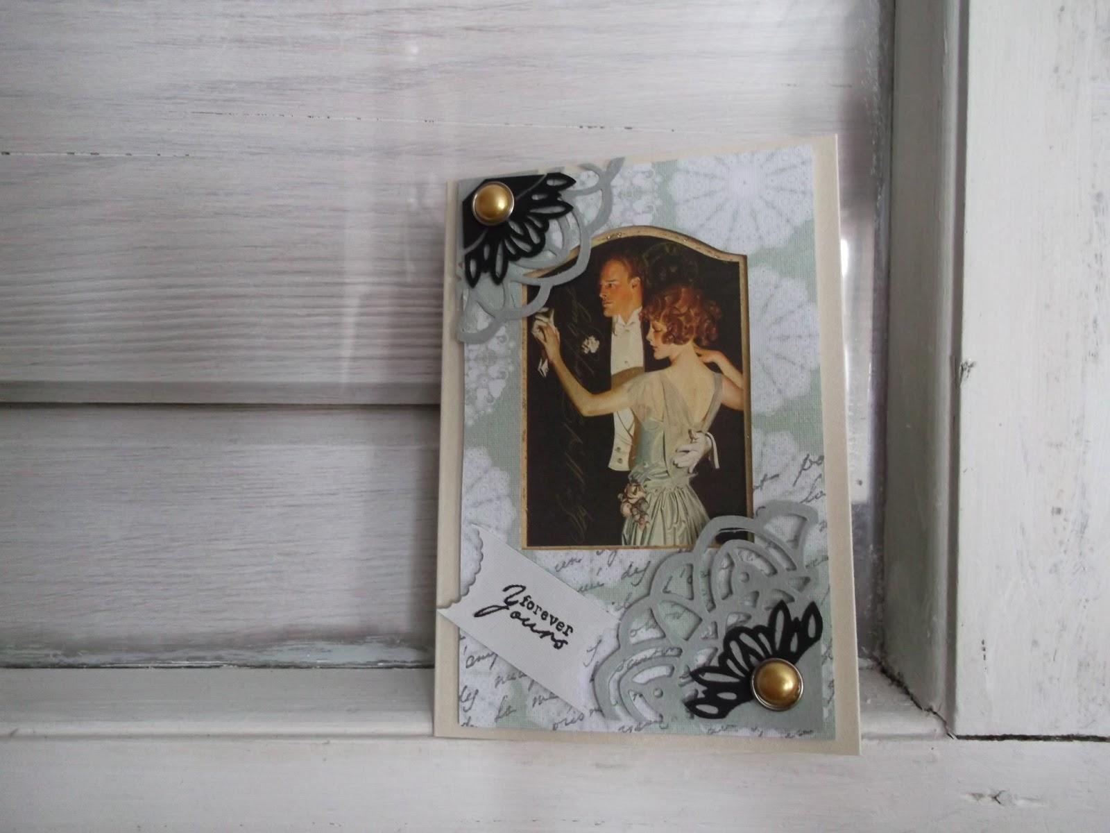 onnittelkortti parille, kuvassa tanssiva mies ja nainen