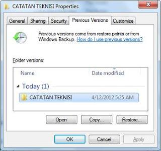 restore file menggunakan shadow copy