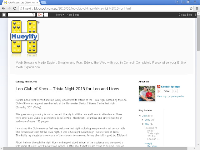 screenshot showing the Hueyify Blog without the tab skip-to-content showing