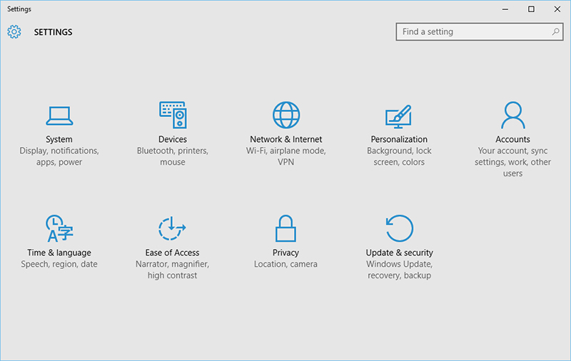 Settings Windows 10
