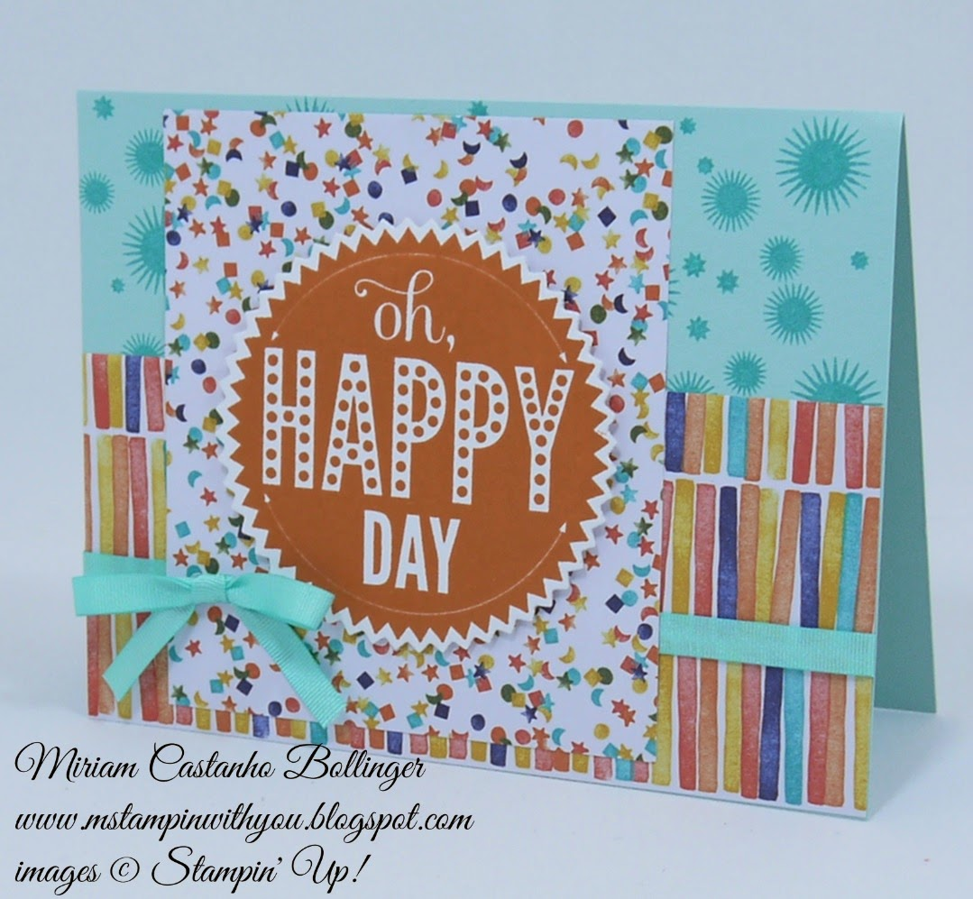 Miriam Castanho Bollinger, mstampinwithyou, stampin up, demonstrator, mm, starburst sayings, starburst framelits, big shot, birthday bash dsp, su
