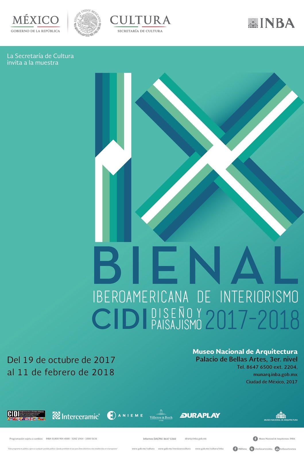 IX Bienal Iberoamericana CIDI Interiorismo, Diseño & Paisajismo 2017-2018