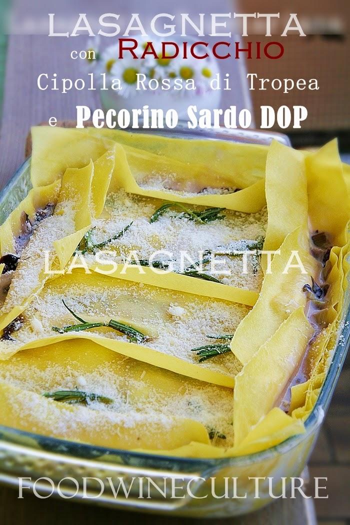 Lasagnetta con Radicchio, Cipolla Rossa di Tropea IGP, Pecorino Sardo DOP e Scottona Bovino Adulto – Lasagne with radicchio, Tropea red onion IGP, Pecorino of Sardinia DOP and Scottona