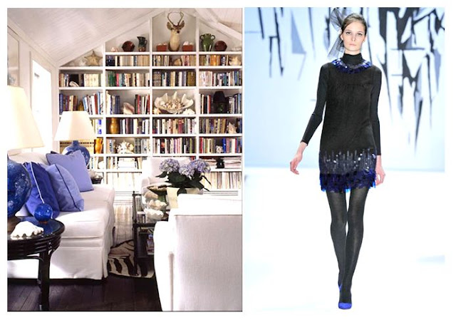 Left: Electric blue pillows brighten up a white living room.  Right: A fantastic sequined dress with just a hint of electric blue trim