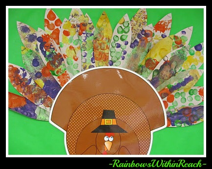 photo of: Turkey Feather Thanksgiving Bulletin Board at PreK+K Sharing