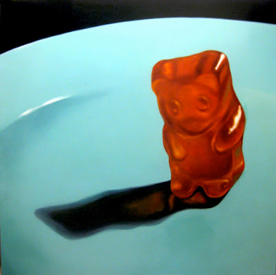 oil painting of a orange gummy bear