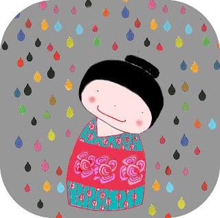 Ciel gris, pluie de larmes colorées pour une Kokeshi apaisée