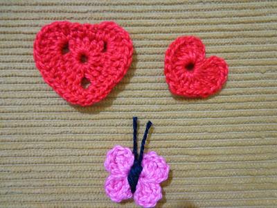 Coruja,Coração e borboleta em crochet