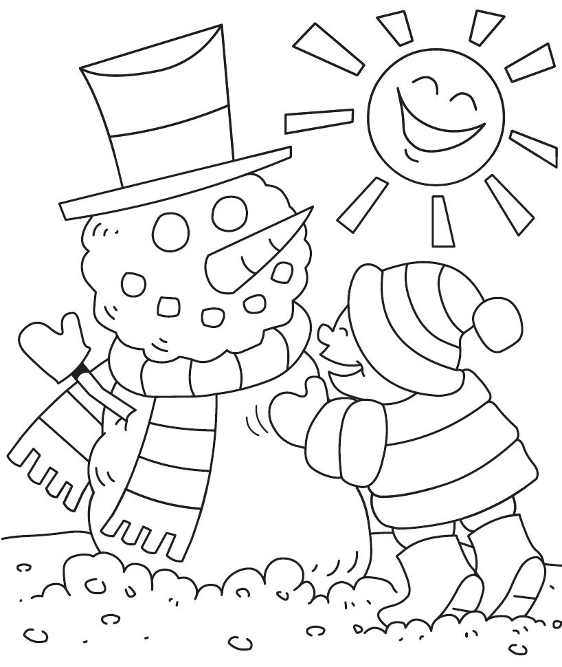 Preschool Bilingual Project Winter Coloring Page