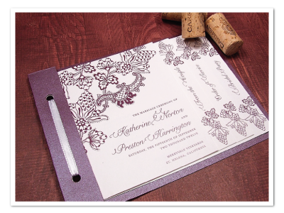 vintage winery grape them printable wedding ceremony program design