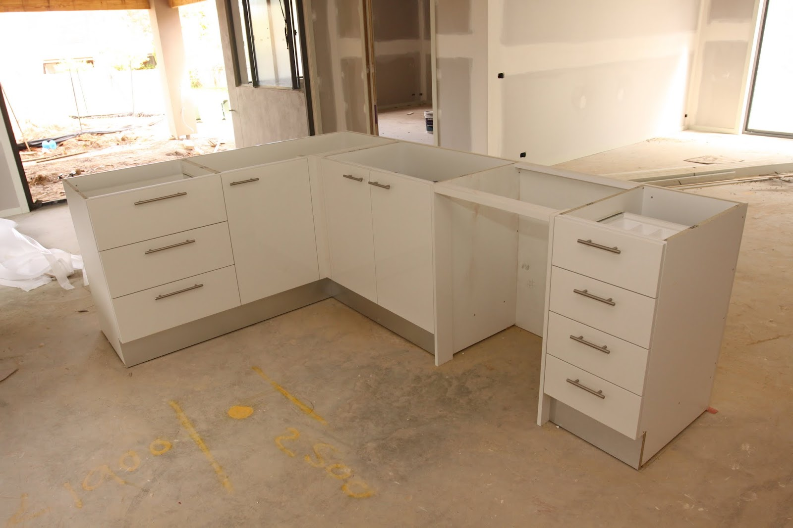 Our metricon nolan 41 journey kitchen and vanity cabinetry - L Shaped Island Bench Which Will Have Water Fall Edges
