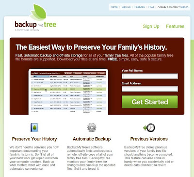 """The Easiest Way to Preserve Your Family's History"" - headline and then various explanations about the site's functionality - click on the link in the caption to go to the site"