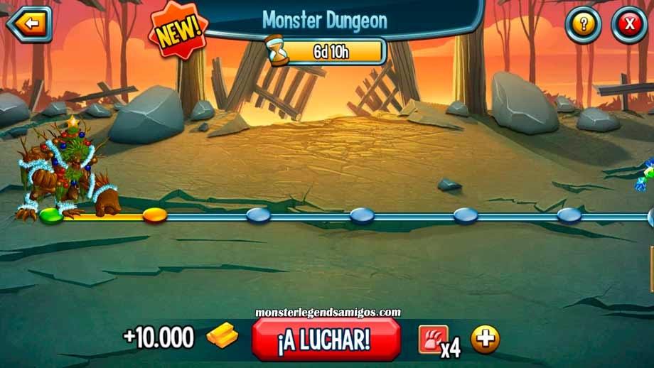 imagen de los niveles de las nuevas mazmorras de monster legends