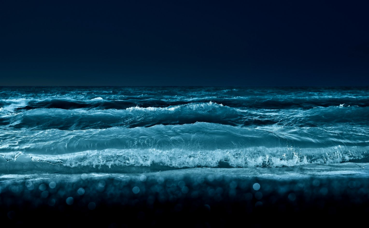 1680x1050 Ocean Waves at Night Wallpaper