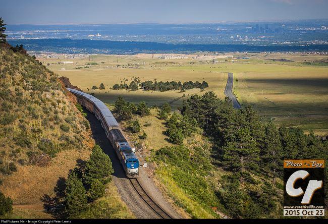 Amtrak 6 the California Zephyr descends from tunnel 1 approaching the mouth of Coal Creek Canyon west of Denver
