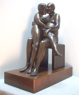 Two bronze seated figures of couple in Celebration of their 50th wedding anniversary
