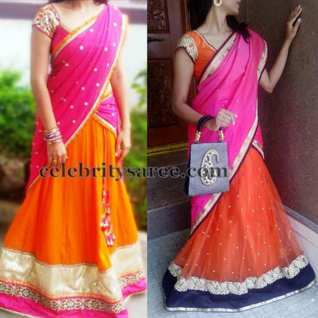 Orange Half Saris in Simple Look