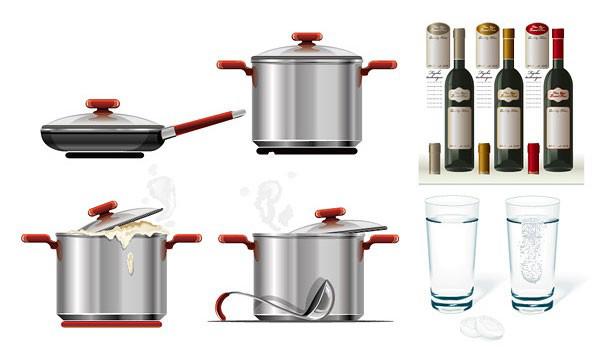 vectores gratis de ollas y botellas de vino