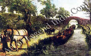 The Stour Navigation, The River Stour was opened to barge traffic in the 18th century, long before the railway reached Suffolk. Barges were always drawn in pairs, and when the towpath alternated between the two banks, the draught horses had to be ferried across the river on the barge.