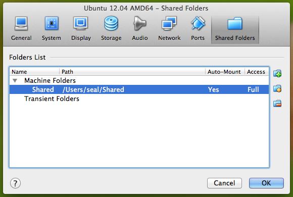 VirtualBox 的 Shared Folders 功能選單