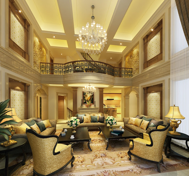 Mẫu trần thạch cao phòng khách biệt thự cao cấp