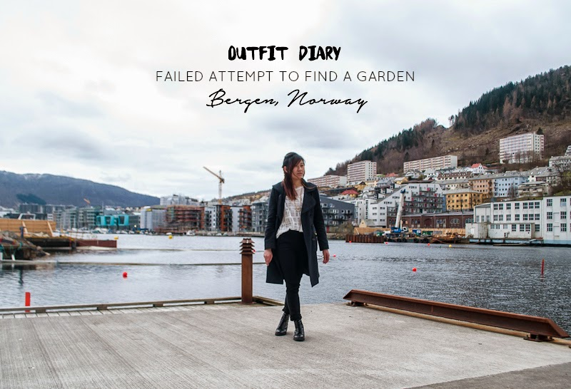 Outfit of the day and finding a garden In bergen