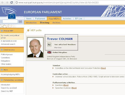 Trevor Colman's MEP profile on the European Parliament website this afternoon - 31st March 2011