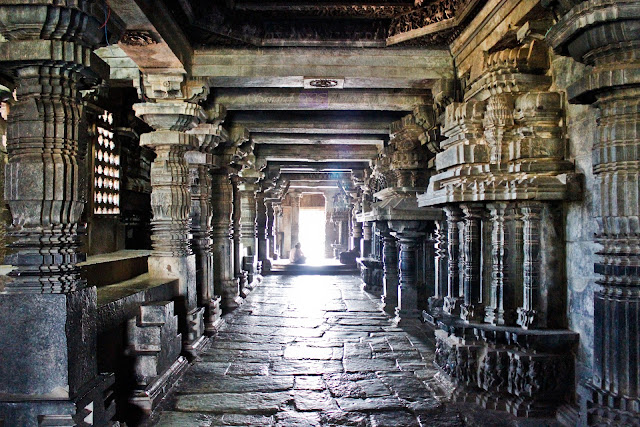 Inside the Hoysaleshwara temple