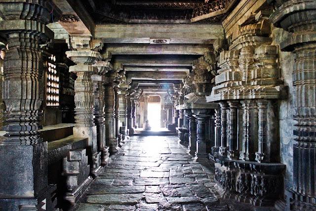 Inside the Hoysaleshwara temple