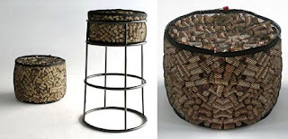 Puf con Corchos Reciclados, Muebles Originales y Ecoresponsables