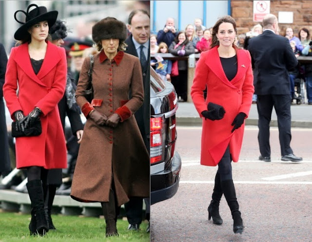 Catherine Middleton wears the same red Armani coat, April 2013