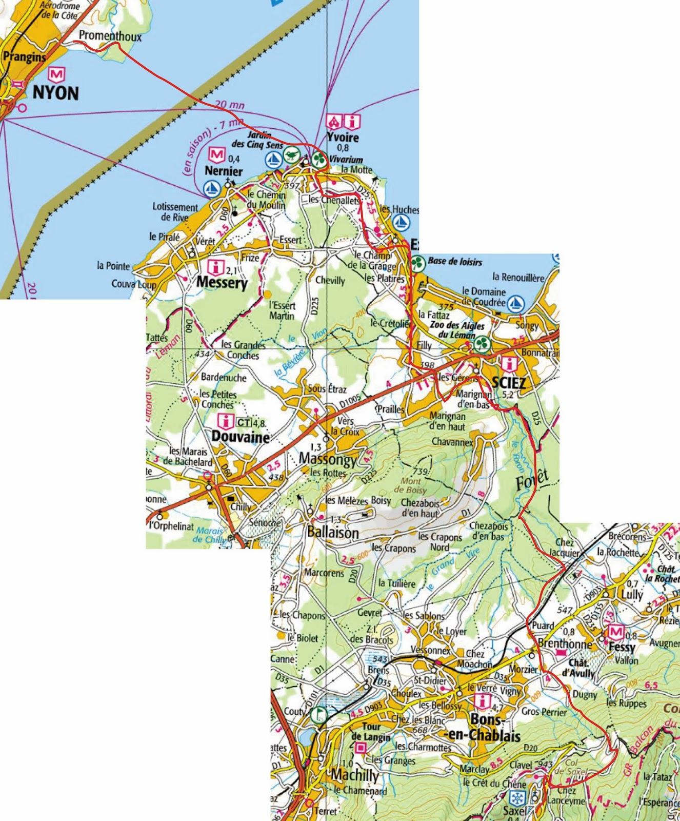 across lake leman lake geneva 3 5 miles from prangins to yvoire then a path of 12 9 miles from yvoire to saxel route is show in red click on map to
