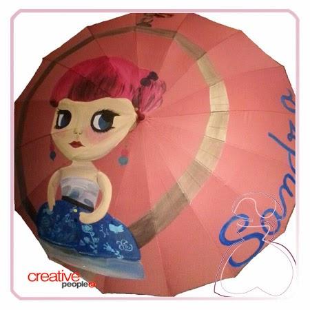 Paraguas pintado a mano modelo Muñeca por Sylvia Lopez Morant