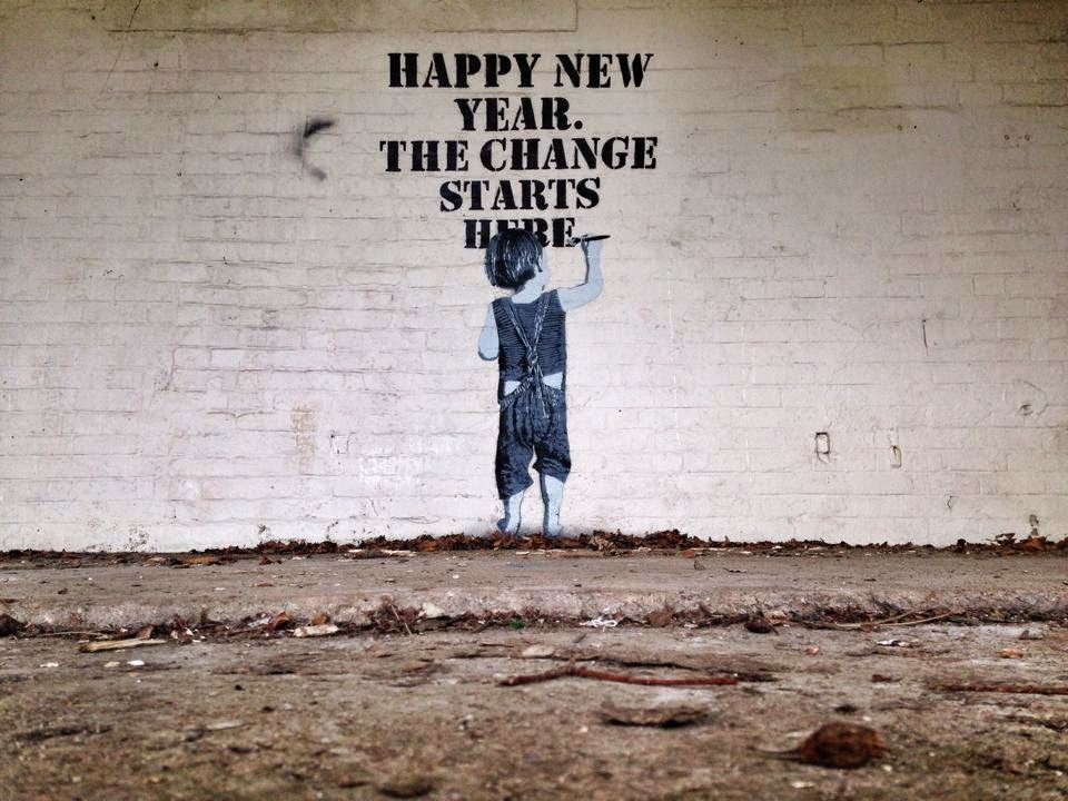 "NME is starting his year with a brand new stencil piece entitled ""Happy New Year. The Change Starts Here""."