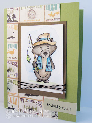 Fishing Bear card using Inktense Watercolor pencils