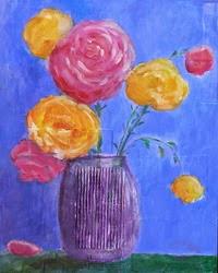 kwiaty w wazonie (mix-media)