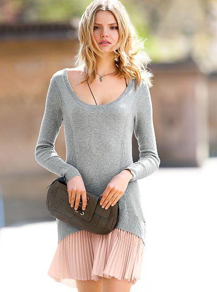 Drop waist knit dress fashion style