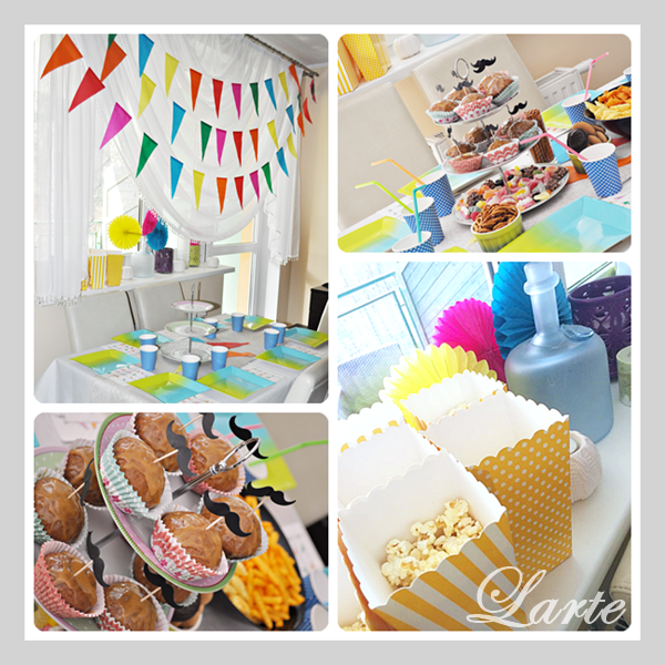 urodziny, dziecko, girlanda, muffiny, toppers, wąsy, kolory, poczęstunek, oprawa stołu, impreza urodzinowa, dziecko
