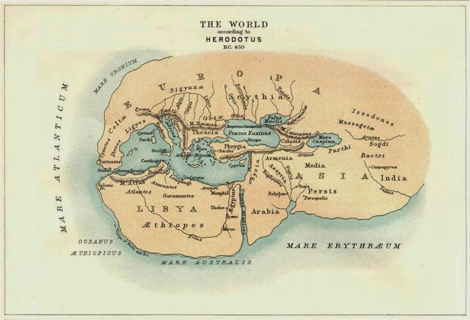 El mundo según Herodoto, año 450 a.C.