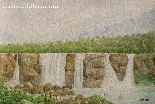 Waterfall paintings for interiors